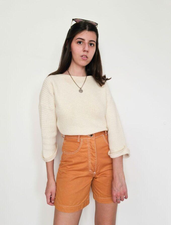 Short mom vintage laranja 1