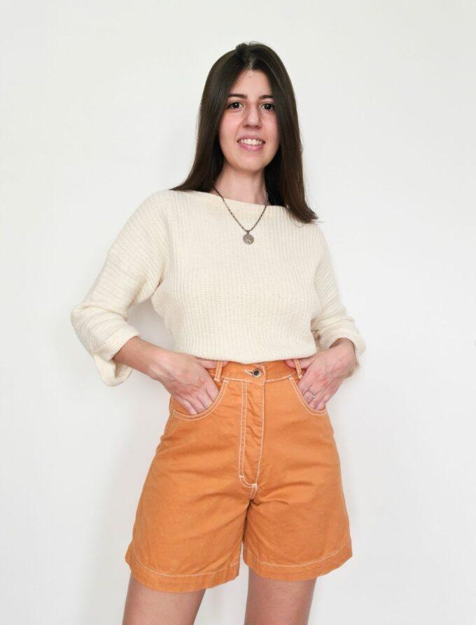 Short mom vintage laranja 2